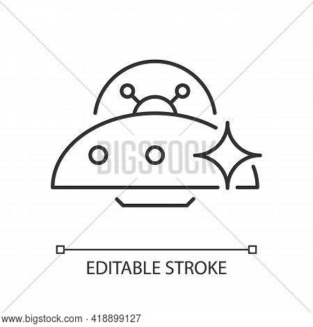 Ufo Linear Icon. Unidentified Flying Object. Alien Ivasion. High Tech Technologies. Thin Line Custom