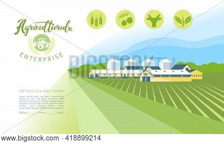 Panorama Of An Agricultural Complex With An Emblem And Agricultural Icons