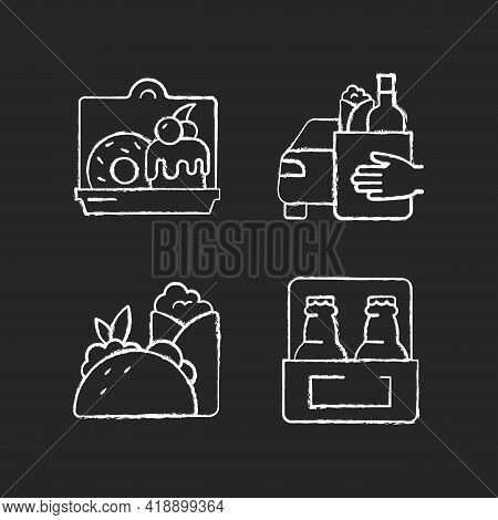 Pickup And Delivery Option Chalk White Icons Set On Black Background. Cakes And Desserts. Food Curbs