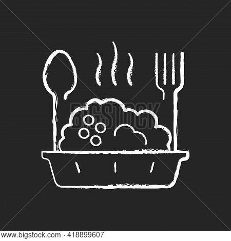 Takeaway Porridge Bowl Chalk White Icon On Black Background. Balanced, Filling Breakfast. Takeout Oa