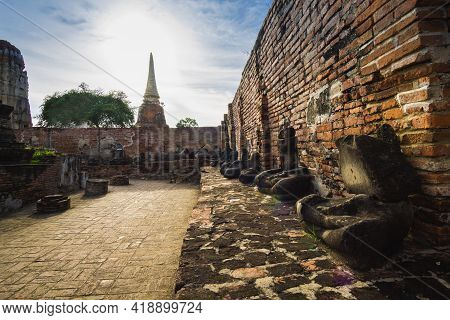 Wat Phra Mahathat, Old Temple In Phra Nakhon Si Ayutthaya, Temple With An Old Buddha Image Without A