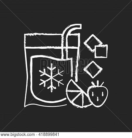 Slushy Drinks-to-go Chalk White Icon On Black Background. Frozen Carbonated Beverage. Blended Drinks