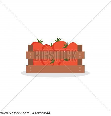 Wooden Box With Tomatoes On Isolated White Background. Vector Illustration Flat Cartoon Style