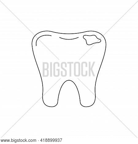 Tooth Decay Dental Line Art Icon Isolated. Tooth With Caries Hole.