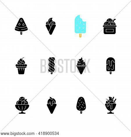Ice Cream Varieties Black Glyph Icons Set On White Space. Watermelon Shape On Stick. Soft Serve. Cre