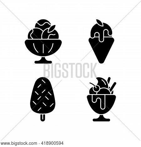 Ice Cream Varieties Black Glyph Icons Set On White Space. Sorbet, Sherbet. Gelato. Vanilla Ice Cream