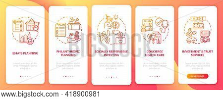 Wealth Advising Onboarding Mobile App Page Screen With Concepts. Estate, Social Responsibility Walkt