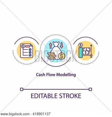 Cash Flow Modelling Concept Icon. Providing Stable Money Income Source. Gaining Budget For Investmen