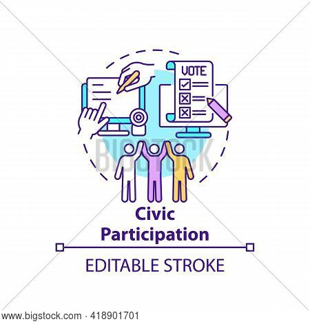 Civic Participation Concept Icon. Social Engagement. Technology Integration. Digital Inclusion Idea