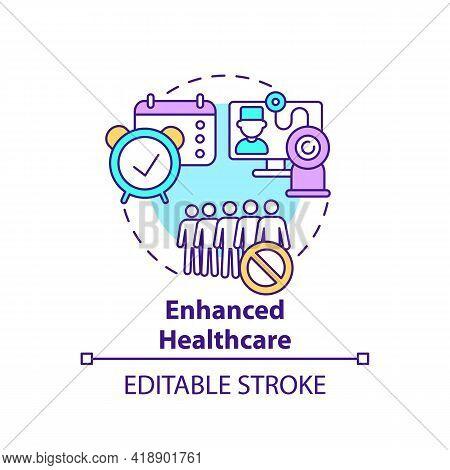 Enhanced Healthcare Concept Icon. Online Medical Services. E Health, Telemedicine. Digital Inclusion