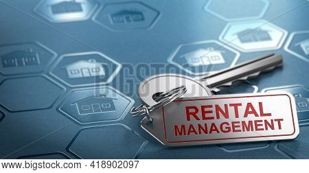 3d Illustration Of A Keychain With The Text Rental Management Engraved On It. Blue Background With C