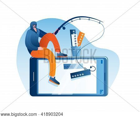 A Man Sits On A Smartphone And Catches The Users Passwords On A Hook. Concept Of A Vector Illustrati