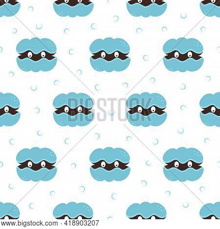 Sea Shells Kids Seamless Pattern, Vector Sea Texture In Cartoon Style, Cute Beach Shells With Pearl