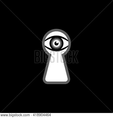 Eye Looking In The Keyhole Graphic Icon. Peeking Eye Sign Isolated On Black Background. Someone Peep