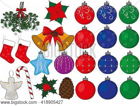 Christmas New Year Fir Toys Collection Vector Illustration