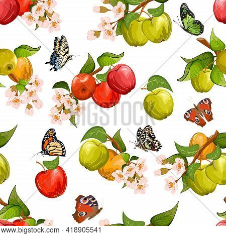 Apples And Butterflies In A Vector Pattern.multi-colored Apples On Branches And Butterflies On A Whi