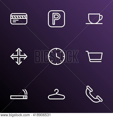 Public Icons Line Style Set With Call, Card, Clock And Other Phone Elements. Isolated Vector Illustr