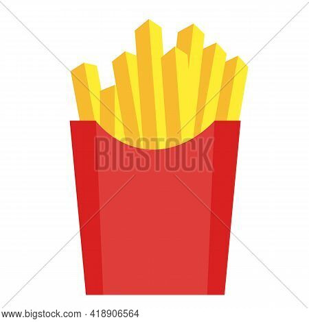 Fries Icon On White Background. French Potato Pack Box. French Fries Sign. Flat Style.