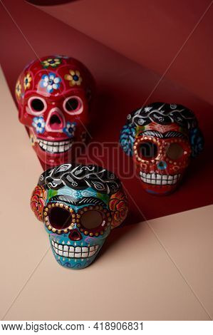Mexican Colorful Skulls. Colorful Traditional Mexican Ceramic Skulls