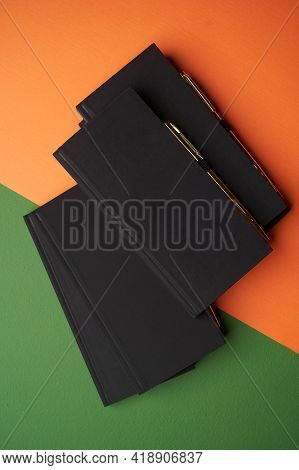 Education Concept With Notebook And Pen On Color Background.  Blank Diary Note Book With Pen