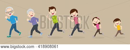 Big Family Jogging Exercising Together For Good Health ,grandfather, Grandmother, Father, Mother, Da