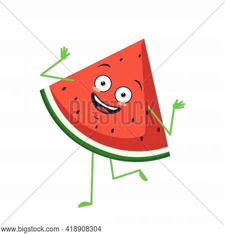 Cute Watermelon Character Cheerful With Emotions Dancing, Arms And Legs. The Funny, Happy Or Smile H