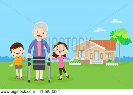 Elderly Walking With House Background. Grandchild Helps Grandmother To Go To The Walker. Kids Caring