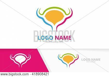Vector Bladder Logo Combination. Urinary Tract Logotype Design Template.