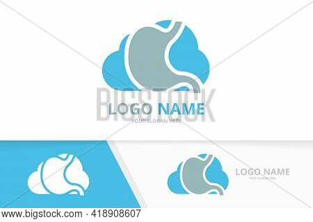 Vector Stomach And Cloud Logo Combination. Gastrointestinal Tract And Storage Logotype Design Templa