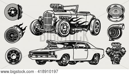 Retro Custom Cars And Parts Composition With Muscle And Hot Rod Automobiles Wheel Rim Disc Brake Eng