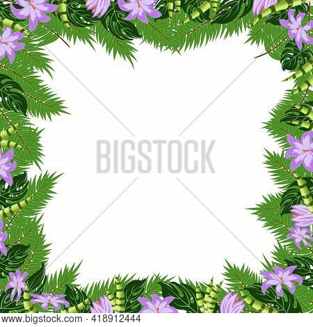 Trendy Tropical Leaves And Tropical Flowers Nature Vector Poster With Bright And Green Light Fashion