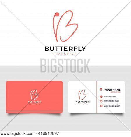 Initial Letter B With Butterfly Symbol. Minimalist Line Art Logo Design And Business Card.