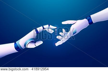 Concept Of Machine Learning Or Innovation Technology, Graphic Of Robot Hand Reaching To Each Other