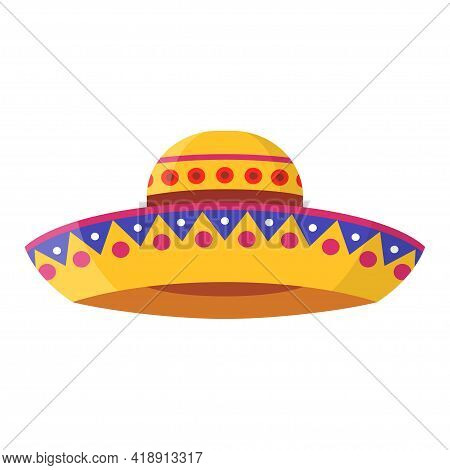 Wide-brimmed Colorful Sombrero Vector Flat Illustration. Bright Traditional Mexican Hat Isolated