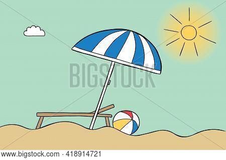 Cartoon Vector Illustration Of Beach Umbrella, Beach, Sunny Weather, Sunbed And Sea Ball. Colored An