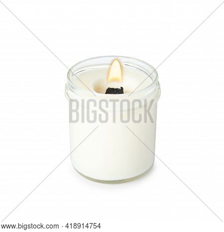 Aromatic Candle With Wooden Wick Isolated On White