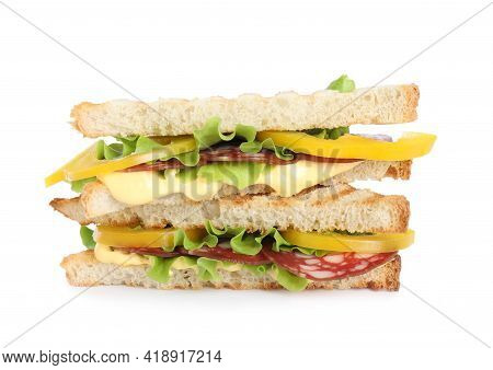 Tasty Sandwiches With Salami Isolated On White