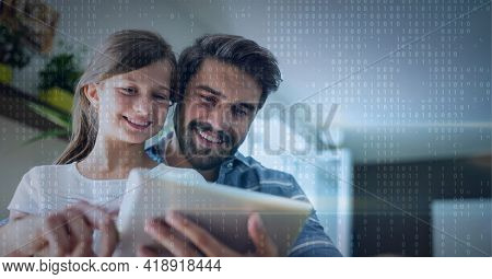 Binar code pattern over father and daughter smiling using tablet. global technology, data processing and digital interface concept digitally generated image.