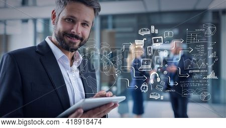 Drawing composition of world and shopping related icons and charts, over caucasian man with tablet. global technology, data processing and digital interface concept digitally generated image.