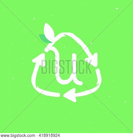 U Letter Logo Inside Reuse Sign In Grunge Linear Style. Flat Design Of Recycling Symbol And Leaves F