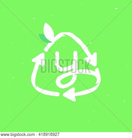 Y Letter Logo Inside Reuse Sign In Grunge Linear Style. Flat Design Of Recycling Symbol And Leaves F