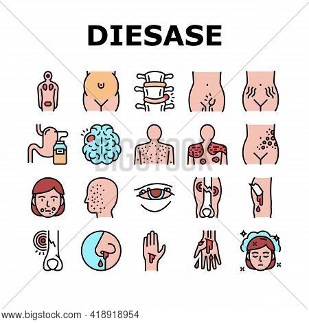 Disease Health Problem Collection Icons Set Vector. Open And Closed Limb Fracture, Nose And Arterial