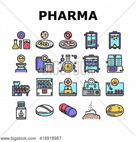 Pharmaceutical Production Factory Icons Set Vector. Laboratory Manufacturing Pharmaceutical Product,