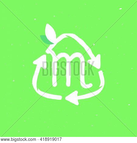 M Letter Logo Inside Reuse Sign In Grunge Linear Style. Flat Design Of Recycling Symbol And Leaves F