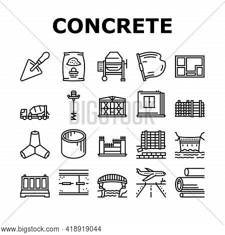 Concrete Production Collection Icons Set Vector. Road And Foundation Concrete, Cement Bag And Spatul