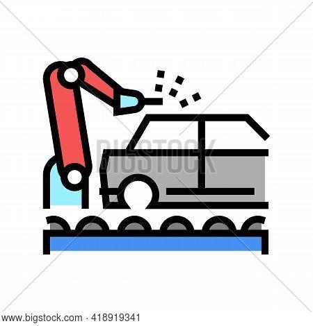 Welding Car Conveyor Color Icon Vector. Welding Car Conveyor Sign. Isolated Symbol Illustration