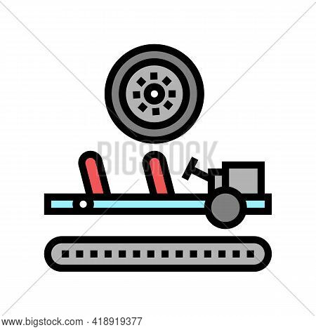 Wheels Installing Car Color Icon Vector. Wheels Installing Car Sign. Isolated Symbol Illustration