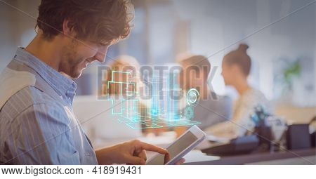 Composition of 3d building model and scopes scanning over businessman using tablet in office. global technology, data processing and digital interface concept digitally generated image.
