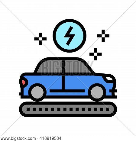 Manufacturing Electric Car Color Icon Vector. Manufacturing Electric Car Sign. Isolated Symbol Illus
