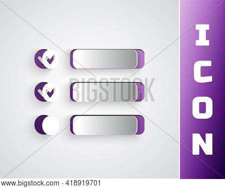 Paper Cut Task List Icon Isolated On Grey Background. Control List Symbol. Survey Poll Or Questionna
